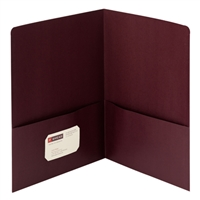 Smead Linen Two-Pocket Folders, Letter Size, Maroon, 25/Bx (87947)