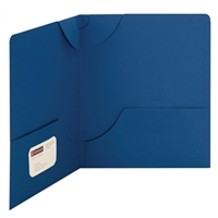 Smead Lockit Two-Pocket File Folder, Letter Size, Dark Blue, 25/Bx (87982)