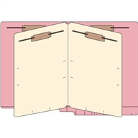 Classification Folders, End Tab, Letter, 2 Div, 14pt Pink, 25/Bx