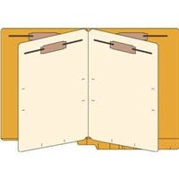 Classification Folders, End Tab, Letter, 2 Div, 14pt Orange, 25/Bx