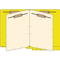 Classification Folders, End Tab, Letter, 2 Div, 14pt Yellow, 25/Bx