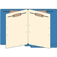 Classification Folders, End Tab, Letter, 2 Div, 14pt Dk Blue, 25/Bx