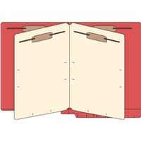 Classification Folders, End Tab, Letter, 2 Div, 14pt Red, 25/Bx