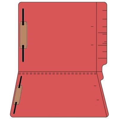 "Colored Folders, End Tab, Letter Size, 3/4"" Exp, Fastener Pos 1/3, 14pt Red, 50/Box"