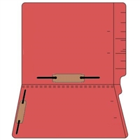 "Colored Folders, End Tab, Letter Size, 3/4"" Exp, Fastener Pos 3/5, 14pt Red, 50/Box"