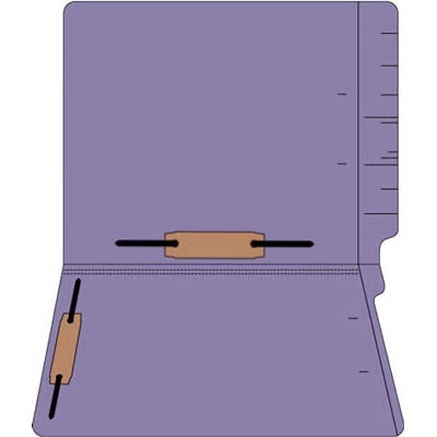 "Colored Folders, End Tab, Letter Size, 3/4"" Exp, Fastener Pos 3/5, 14pt Purple, 50/Box"
