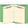 "Classification Folders, End Tab, Letter Size, 3/4"" Exp, 6 Fasteners, 2 Dividers, 14pt Green, 25/Bx"