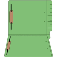 "Colored Folders, End Tab, Letter Size, 3/4"" Exp, Fastener Pos 1/3, 14pt Green, 50/Box"