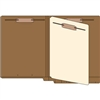 "Classification Folders, End Tab, Letter Size, 3/4"" Exp, 4 Fasteners, 1 Divider, 14pt Brown, 25/Bx"