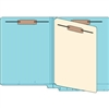 "Classification Folders, End Tab, Letter Size, 3/4"" Exp, 4 Fasteners, 1 Divider, 11pt Blue, 25/Bx"