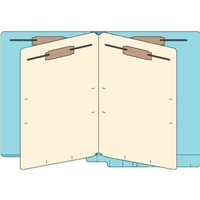 Classification Folders, End Tab, Letter, 2 Div, 14pt Lt. Blue, 25/Bx