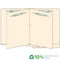 "Classification Folders, End Tab, Letter Size, Drop Front, 3/4"" Exp, 6 Fasteners, 2 Dividers, 14pt Manila, 25/Bx"