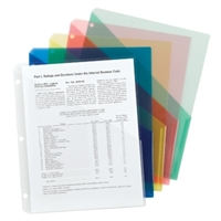 Poly Slash-style File Jackets, 3-Hole Punch, Letter , Assorted Colors, 5/Pk (89505)