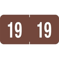Tab Compatible Year Labels, 2019, Brown, 3/4 x 1-1/2, 500/Roll