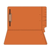 "Colored Folders, End Tab, Legal Size, 3/4"" Exp, Fastener Pos 1, 11pt Orange, 50/Box"