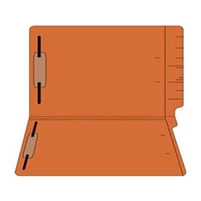"Colored Folders, End Tab, Legal Size, 3/4"" Exp, Fasteners Pos 1/3, 11pt Orange, 50/Box"