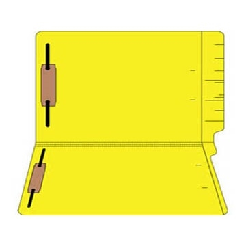 "Colored Folders, End Tab, Legal Size, 3/4"" Exp, Fasteners Pos 1/3, 11pt Yellow, 50/Box"