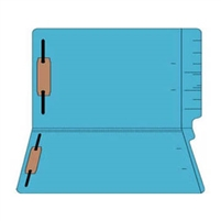 "Colored Folders, End Tab, Legal Size, 3/4"" Exp, Fasteners Pos 1/3, 11pt Blue, 50/Box"