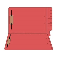 "Colored Folders, End Tab, Legal Size, 3/4"" Exp, Fasteners Pos 1/3, 11pt Red, 50/Box"