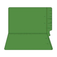 "Colored Folders, End Tab, Legal Size, 3/4"" Exp, No Fasteners, 11pt Green, 100/Box"
