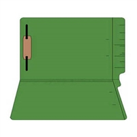 "Colored Folders, End Tab, Legal Size, 3/4"" Exp, Fastener Pos 1, 11pt Green, 50/Box"