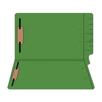 "Colored Folders, End Tab, Legal Size, 3/4"" Exp, Fasteners Pos 1/3, 11pt Green, 50/Box"