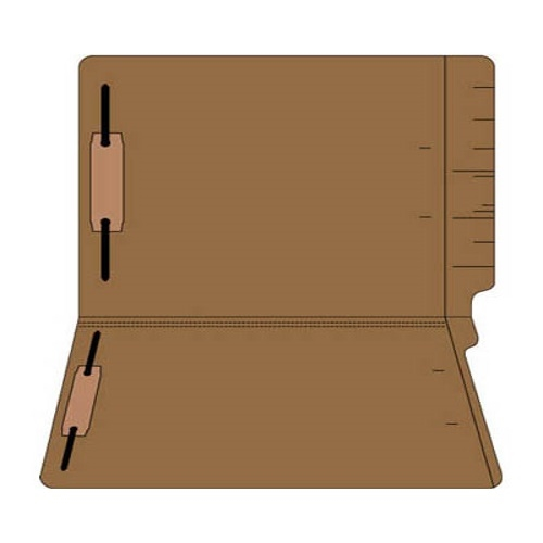 "Colored Folders, End Tab, Legal Size, 3/4"" Exp, Fasteners Pos 1/3, 11pt Brown 50/Box"
