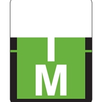 "Tab Match 1307 Top Tab Alpha Label, Letter M, 1"" x 3/4"", Lt. Green, 500/RL"