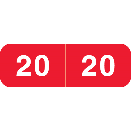Ames Match Year Labels, 2020, Red, 1/2 x 1-1/2, 500/RL