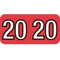 Barkley Compatible Year Labels, 2020, Red, 3/4 x 1-1/2, 500/Roll