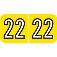 Barkley Compatible Year Labels, 2022, Yellow, 3/4 x 1-1/2, 500/Roll