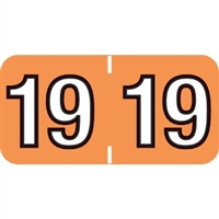 Colwell Compatible Year Labels, 2019, Light Orange, 3/4 x 1-1/2, 500/Roll
