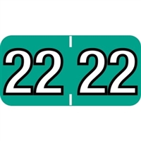 Colwell Compatible Year Labels, 2022, Turquoise, 3/4 x 1-1/2, 500/Roll