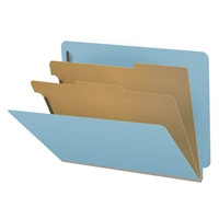 "Pressboard Classification Folders, End Tab, Letter Size, 2"" Exp, 2 Dividers, Type III Blue, 10/Box"