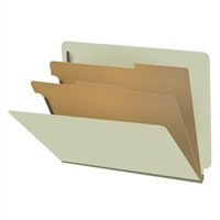 "Pressboard Classification Folders, End Tab, Letter Size, 2"" Exp, 2 Dividers, Type III Green, 10/Box"