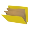 "Pressboard Classification Folders, End Tab, Letter Size, 2"" Exp, 2 Dividers, Type III Yellow, 10/Box"