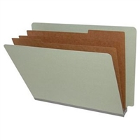 "Pressboard Classification Folders, End Tab, Letter Size, 3"" Exp, 3 Dividers, Type II Gray, 10/Box"