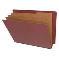 "Pressboard Classification Folders, End Tab, Letter Size, 3"" Exp, 3 Dividers, Type II Red, 10/Box"