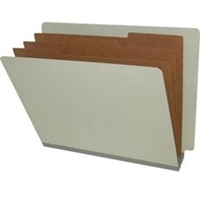 "Pressboard Classification Folders, End Tab, Letter Size, 3"" Exp, 3 Dividers, Type III Green, 10/Box"