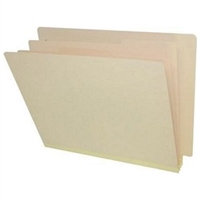 "Classification Folders, End Tab, Letter Size, 3"" Exp, 3 Dividers, 18pt Manila, 10/Bx"