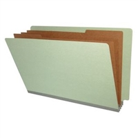 "Pressboard Classification Folders, End Tab, Legal Size, 3"" Exp, 3 Dividers, Type II Gray, 10/Box"