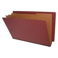 "Pressboard Classification Folders, End Tab, Legal Size, 3"" Exp, 3 Dividers, Type II Red, 10/Box"