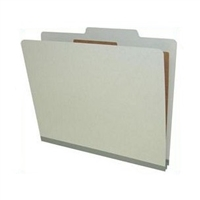 "Pressboard Classification Folders, 2/5-Cut, Letter Size, 2"" Exp, 1 Divider, Type II Gray, 10/Box"