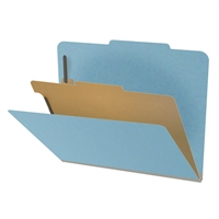 "Pressboard Classification Folders, 2/5-Cut, Letter Size, 2"" Exp, 1 Divider, Type III Blue, 10/Box"