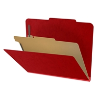 "Pressboard Classification Folders, 2/5-Cut, Letter Size, 2"" Exp, 1 Divider, Type III Deep Red, 10/Box"