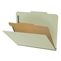 "Pressboard Classification Folders, 2/5-Cut, Letter Size, 2"" Exp, 1 Divider, Type III Green, 10/Box"