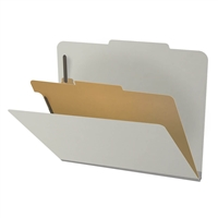 "Pressboard Classification Folders, 2/5-Cut, Letter Size, 2"" Exp, 1 Divider, Type III Gray, 10/Box"