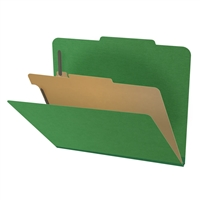 "Pressboard Classification Folders, 2/5-Cut, Letter Size, 2"" Exp, 1 Divider, Type III Moss Green, 10/Box"
