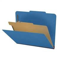 "Pressboard Classification Folders, 2/5-Cut, Letter Size, 2"" Exp, 1 Divider, Type III Royal Blue, 10/Box"
