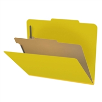 "Pressboard Classification Folders, 2/5-Cut, Letter Size, 2"" Exp, 1 Divider, Type III Yellow, 10/Box"